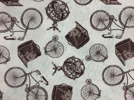 Vintage Style Camera & Bicycles Cotton Fabric