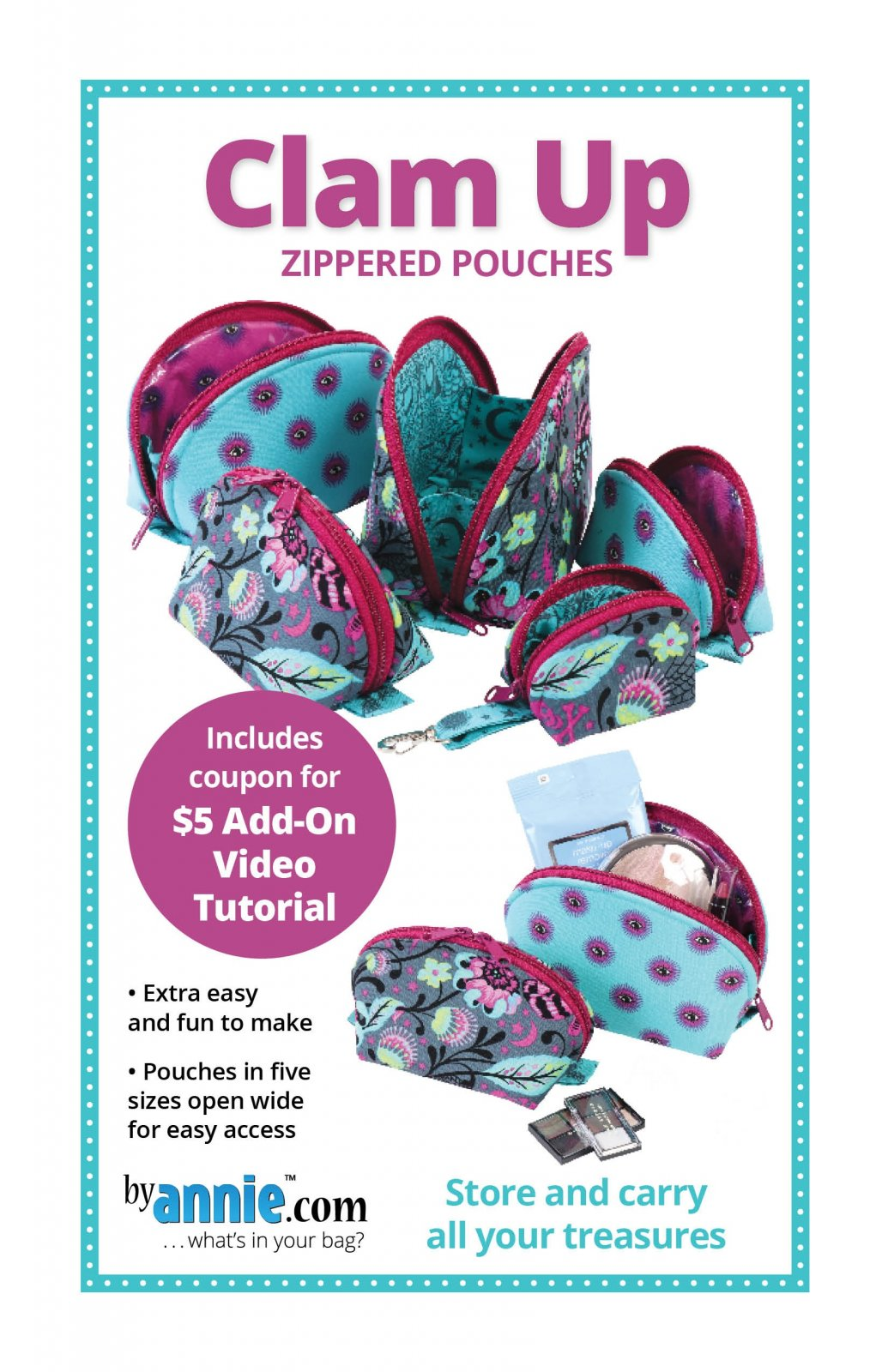 Clam Up! zippered pouch pattern