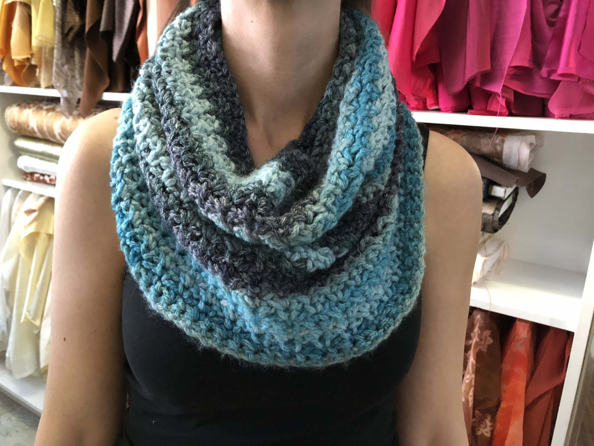 Ombre Blue Chunky Cowl