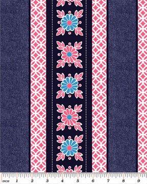 Blue/Pink Flower Border Print