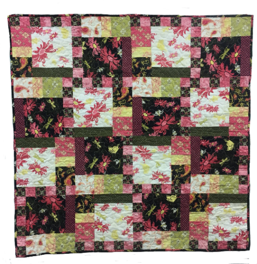 Pink/Black/Yellow Floral Quilt