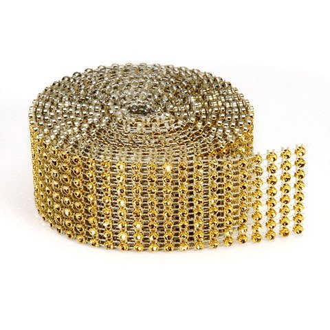 Bling on a Roll - 3mm x 2 yards, 8 Rows, Gold