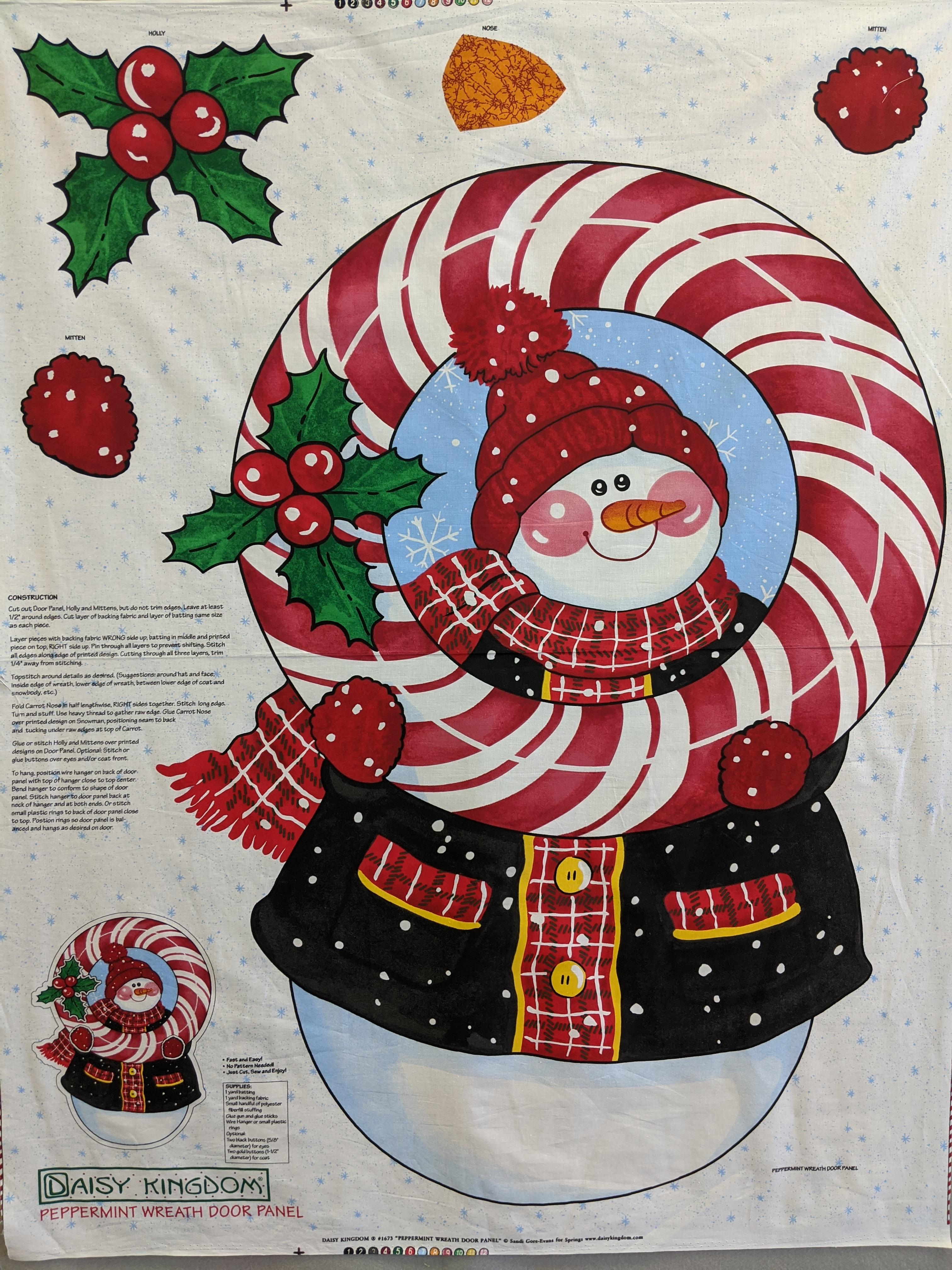 Snowman and Peppermint Wreath Door Panel 36 x 44 (C311)