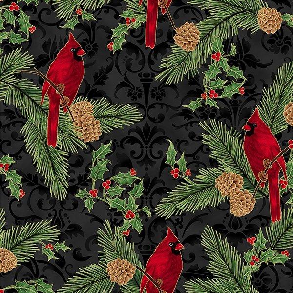 Joyful Traditions Cardinals Damask Black/Gold