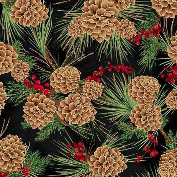 Joyful Traditions Pinecones Black/Gold
