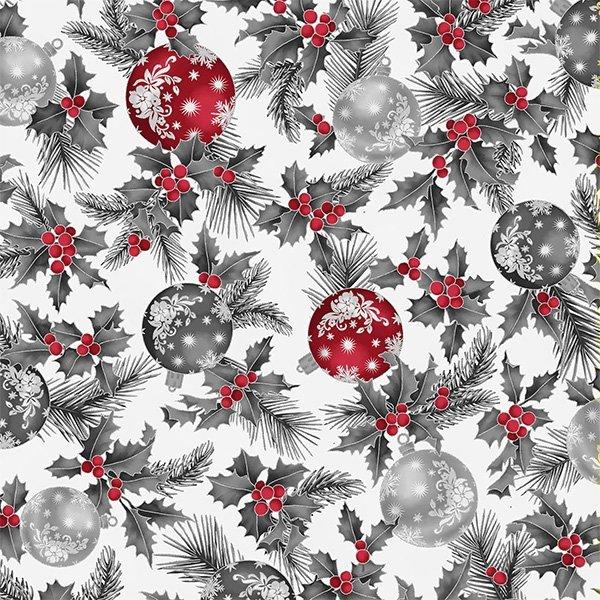 Joyful Traditions Ornaments & Holly  Ice/Silver