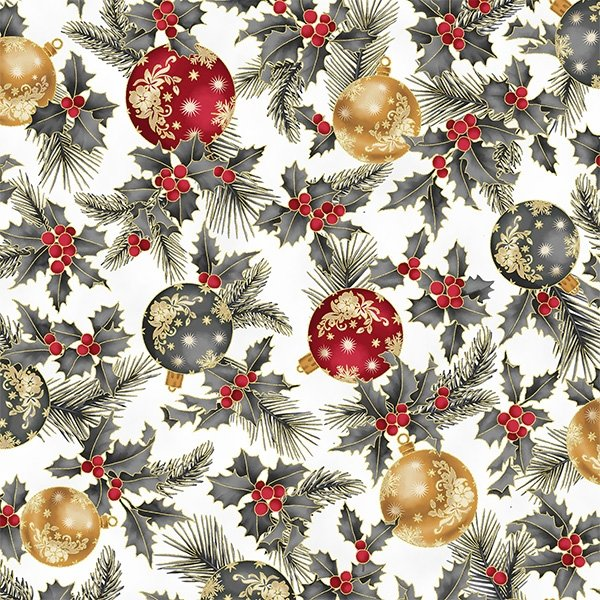 Joyful Traditions Ornaments & Holly Silver/Gold