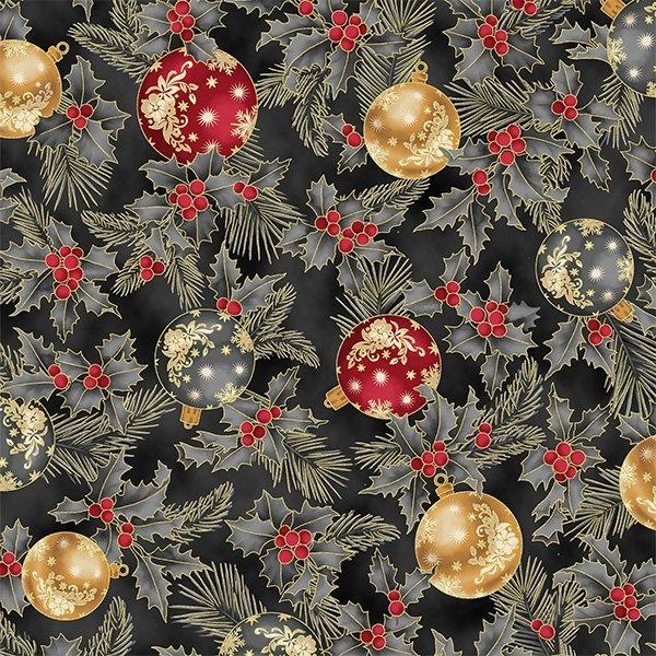 Joyful Traditions Ornaments & Holly Dark Grey/Gold