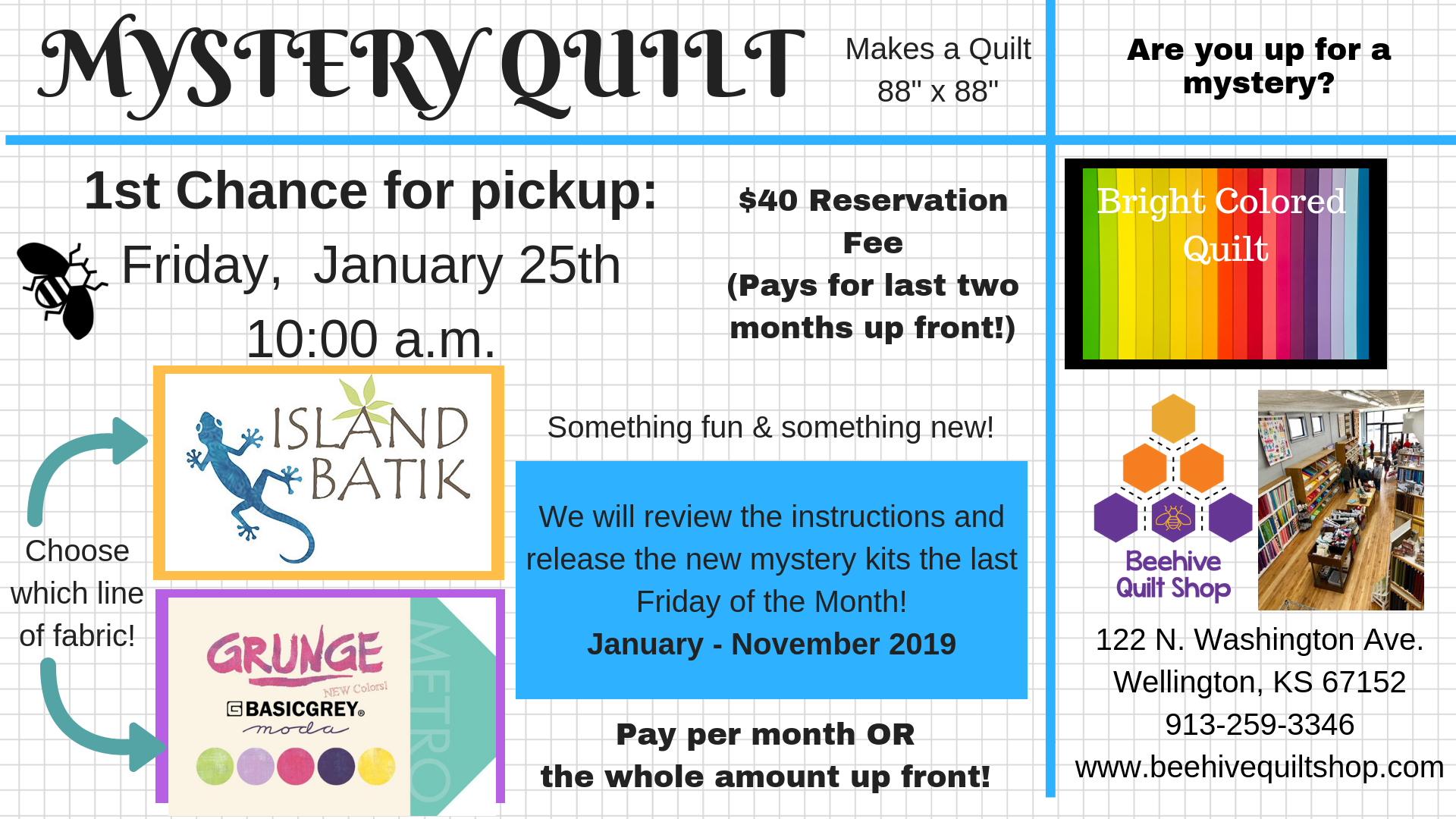 Reservation Fee - Grunge - Mystery Quilt 2019