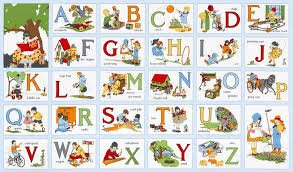 Alphabet Panel - My ABC Book - 2/3 Yd retro