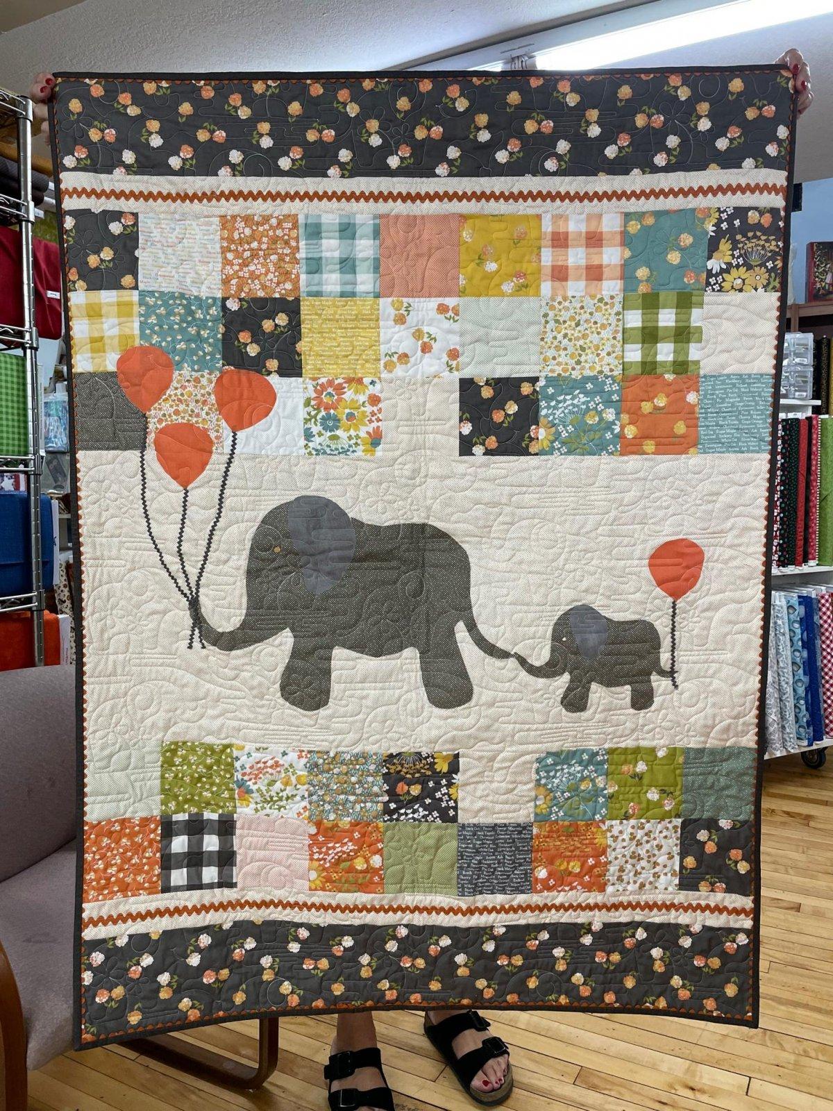Cozy Elephant Baby Quilt Fabric Kit