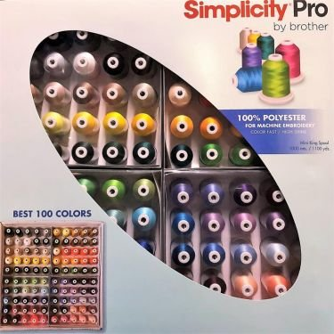 Brother Simplicity Best 100 spools Embroidery Thread 100% Polyester