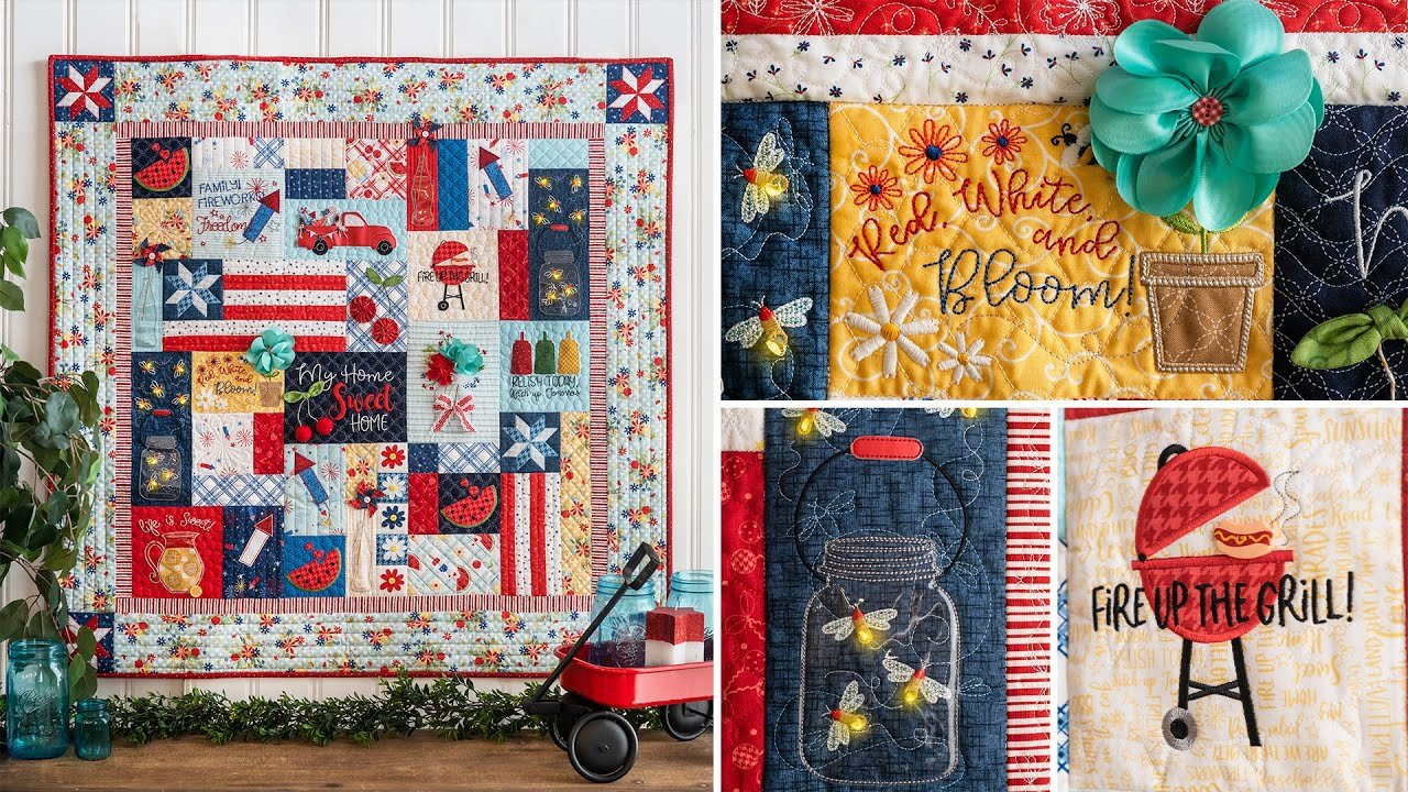 Red White & Bloom Quilt Fabric Only Kit for kd809