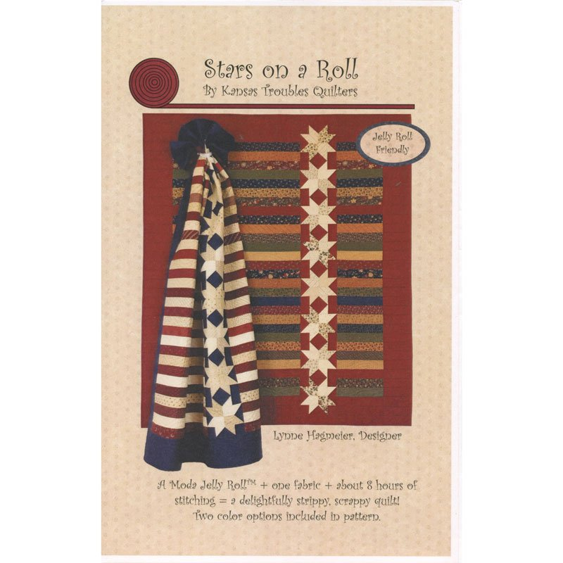 Stars on A Roll Kit + Includes Pattern (Bright Red w/ Cream)  Finished Size 58x74
