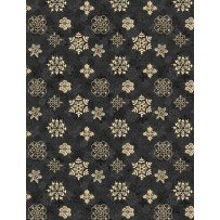Woodland Holiday Snowflake Gold on Black