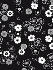 BLACK WITH GRAY AND WHITE FLOWERS