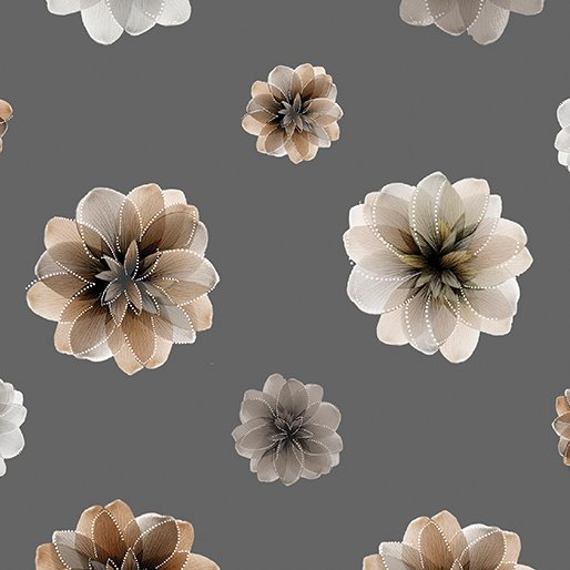 Floating Blossoms - Stone Grey