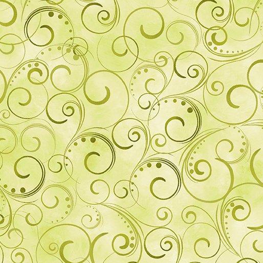 Swirling Splendor - 108in - Moss Green