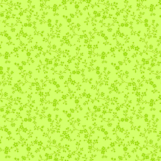 Flowery Vines - Lime Green