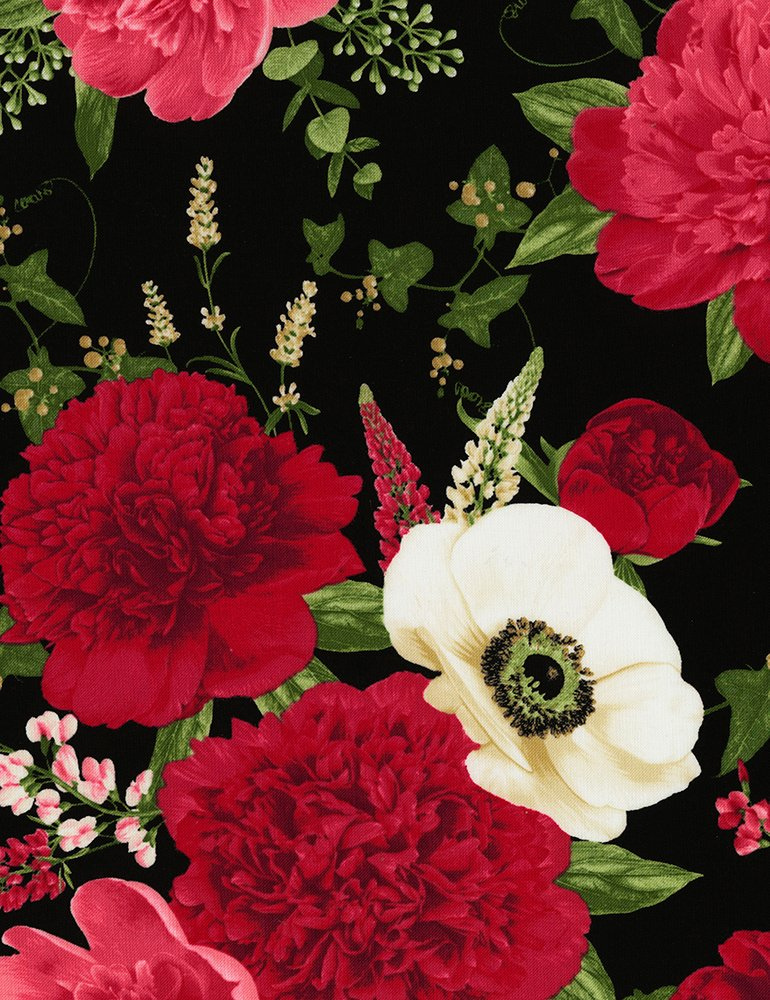 All Over Peony and Anemone - Black