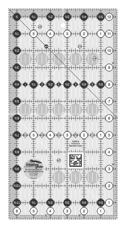Creative Grids Quilt Ruler 6-1/2 x 12 1/2