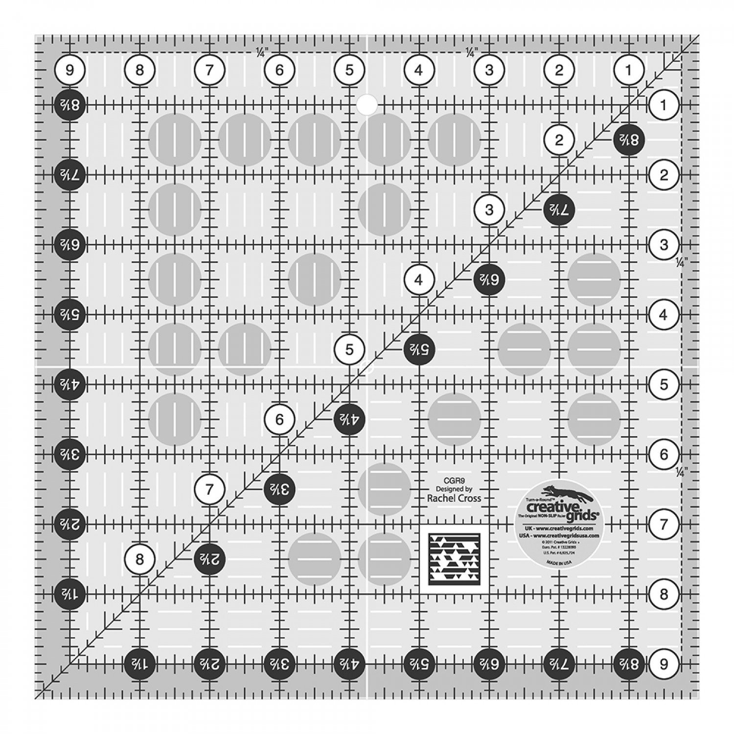 Creative Grids Quilt Ruler 9 1/2 square