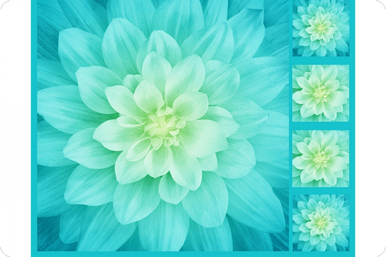 Hoffman Floral Cuddle Panel 45 x 45 & Pillow Panels 10 x 10 - Tidepool
