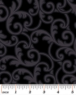 108 Leaf Scroll - Black