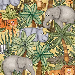 Jungle Buddies  Animals & Palm Trees - Gold - QT