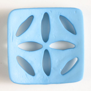 Square Polyamide Cut Out Button Blue 2-3/8in