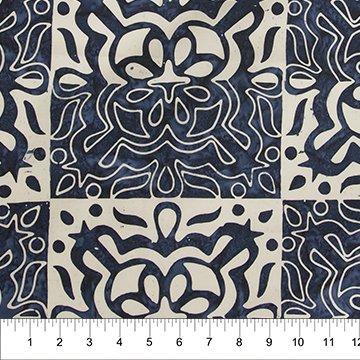 Floral Boxes - Blue - Banyan Batiks
