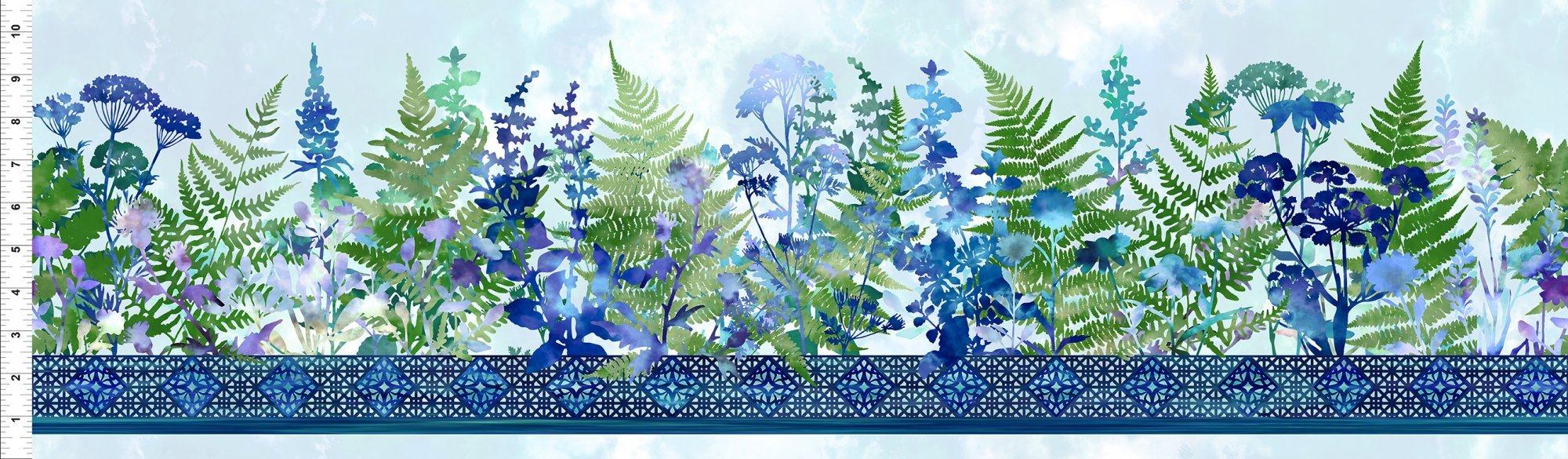 1HVN-2 Haven - Border - Blue by Jason Yenter for In The Beginning Fabrics