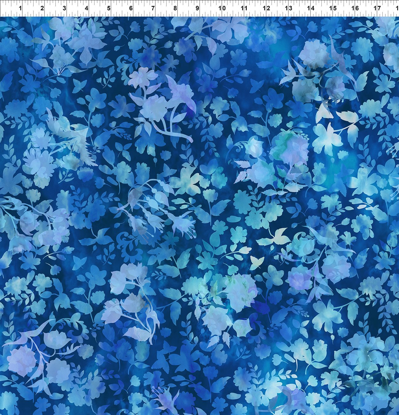2HVN-2 Haven - Shadows - Blue by Jason Yenter for In The Beginning Fabrics