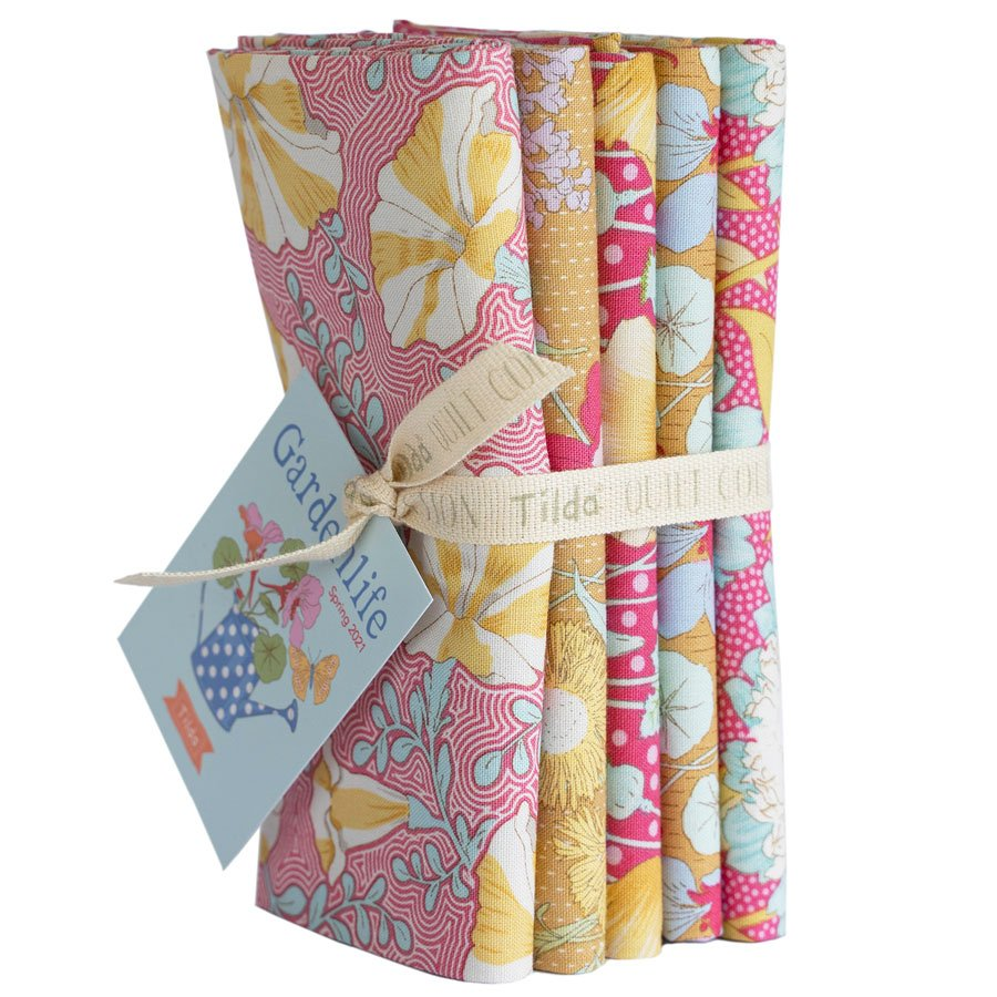 300096 Gardenlife - Mustard Pink - Fat Quarter Bundle 5 fabrics