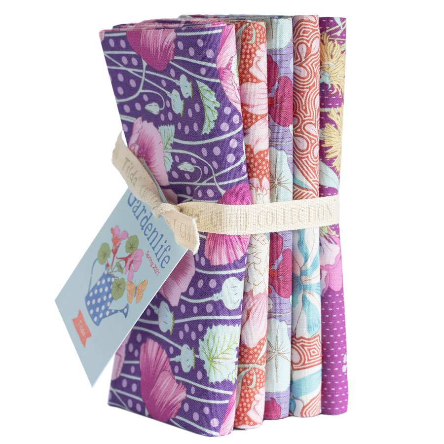 300097 Gardenlife - Lilac/Coral - Fat Quarter Bundle 5 fabrics