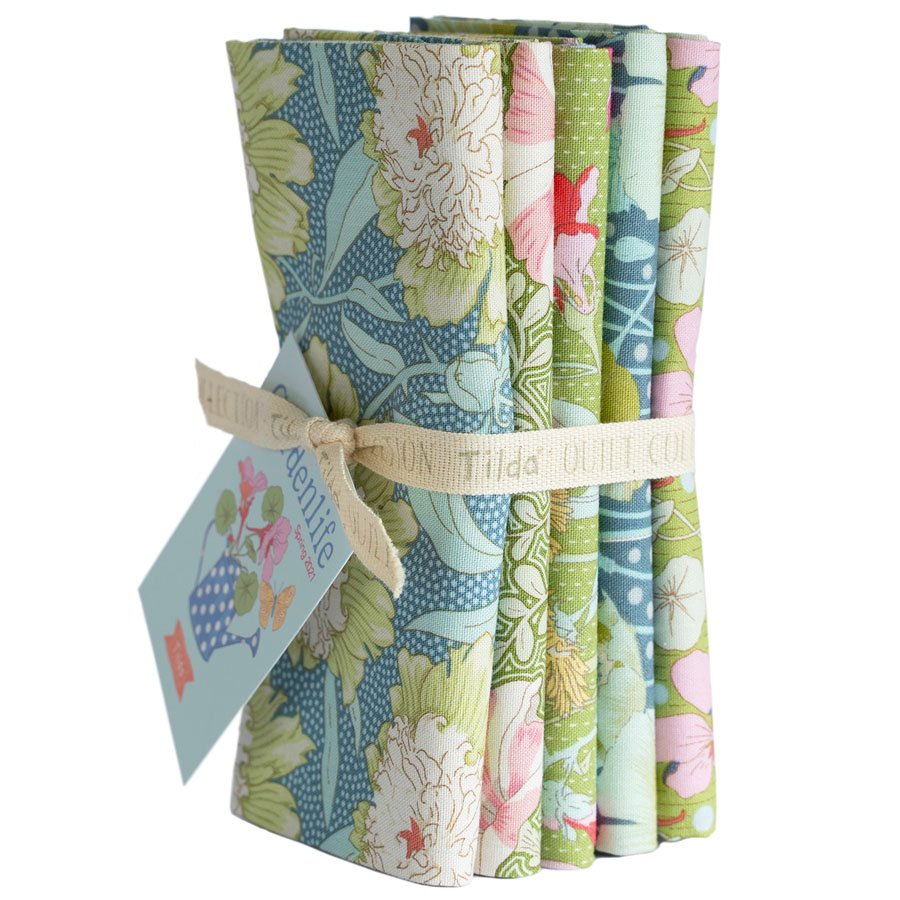 300098 Gardenlife - Green/Sage - Fat Quarter Bundle 5 fabrics
