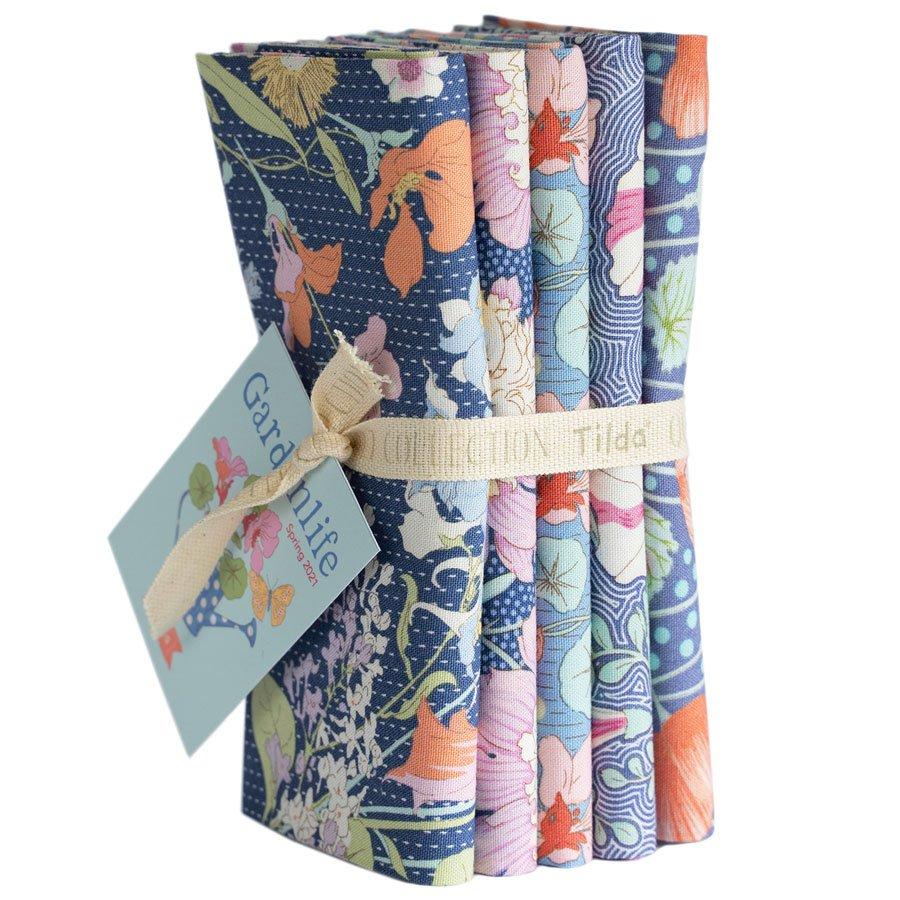 300099 Gardenlife - Blue - Fat Quarter Bundle 5 fabrics