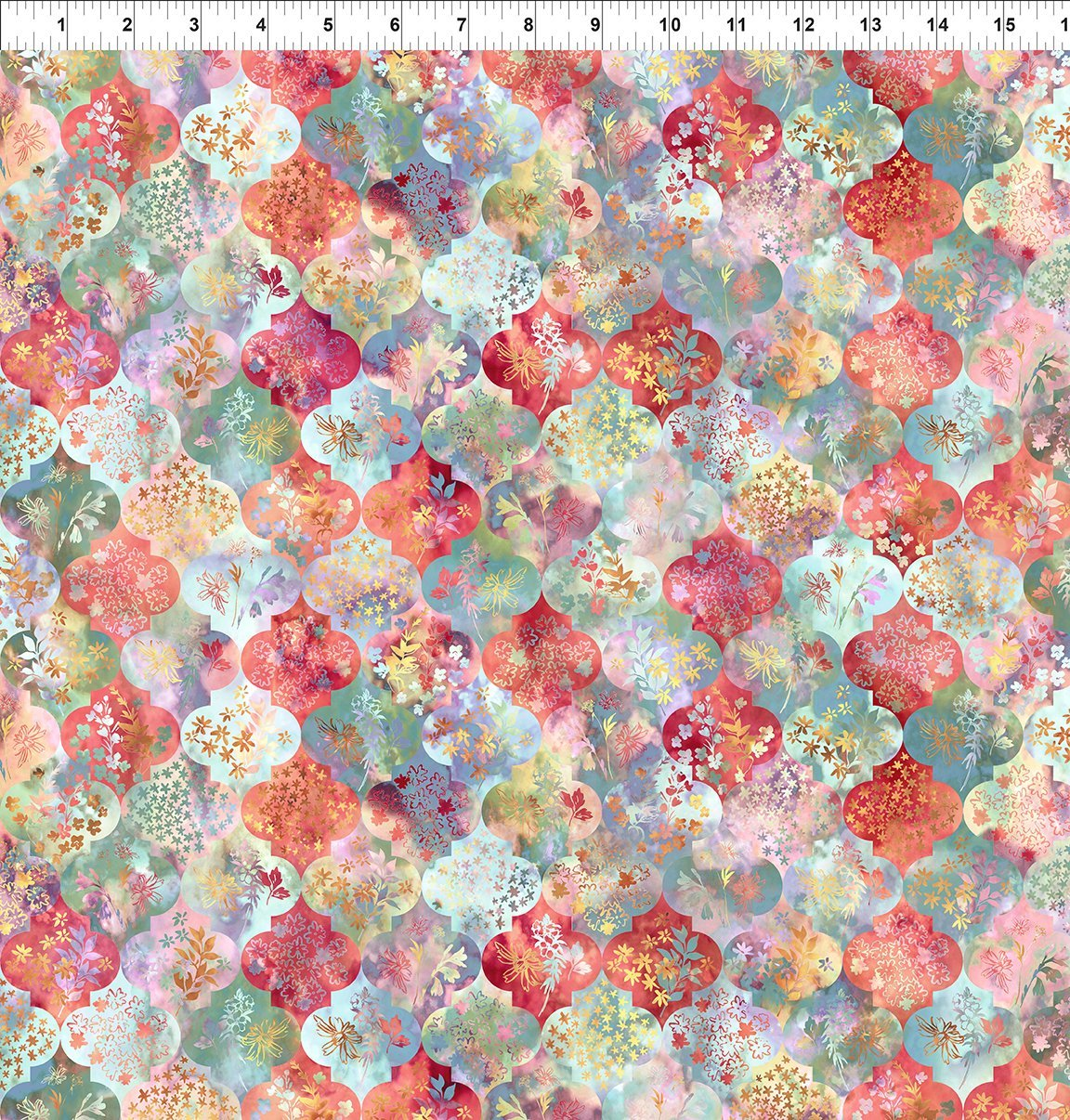 4HVN-1 Haven - Ogee - Multi by Jason Yenter for In The Beginning Fabric