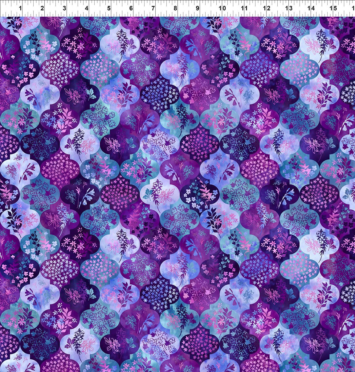 4HVN-3 Haven - Ogee - Purple by Jason Yenter for In The Beginning Fabric