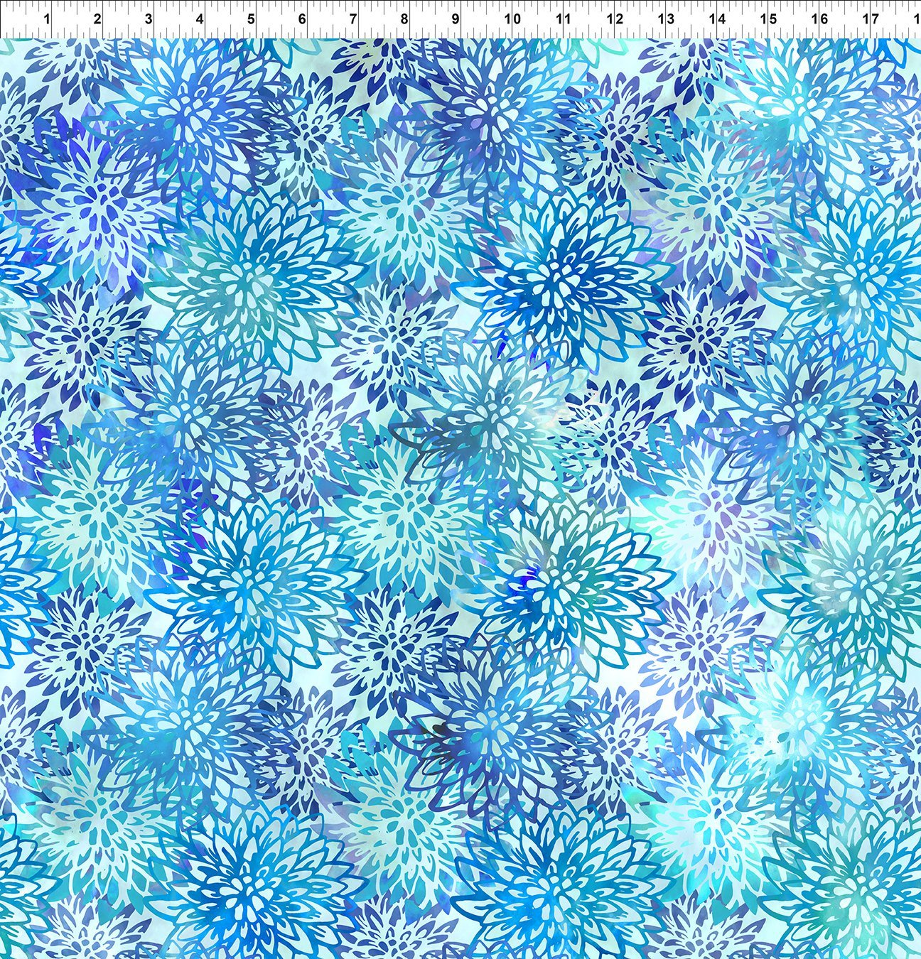 5HVN-2 Haven - Chrysanthemums - Blue by Jason Yenter for In The Beginning Fabric