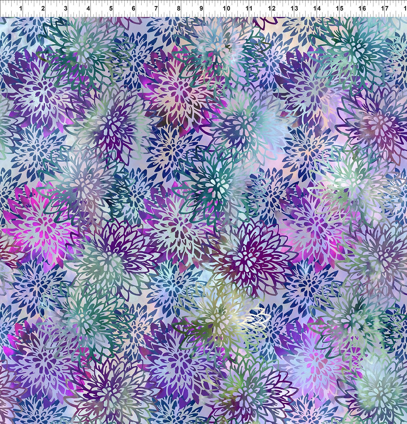 5HVN-3 Haven - Chrysanthemums - Purple by Jason Yenter for In The Beginning Fabric
