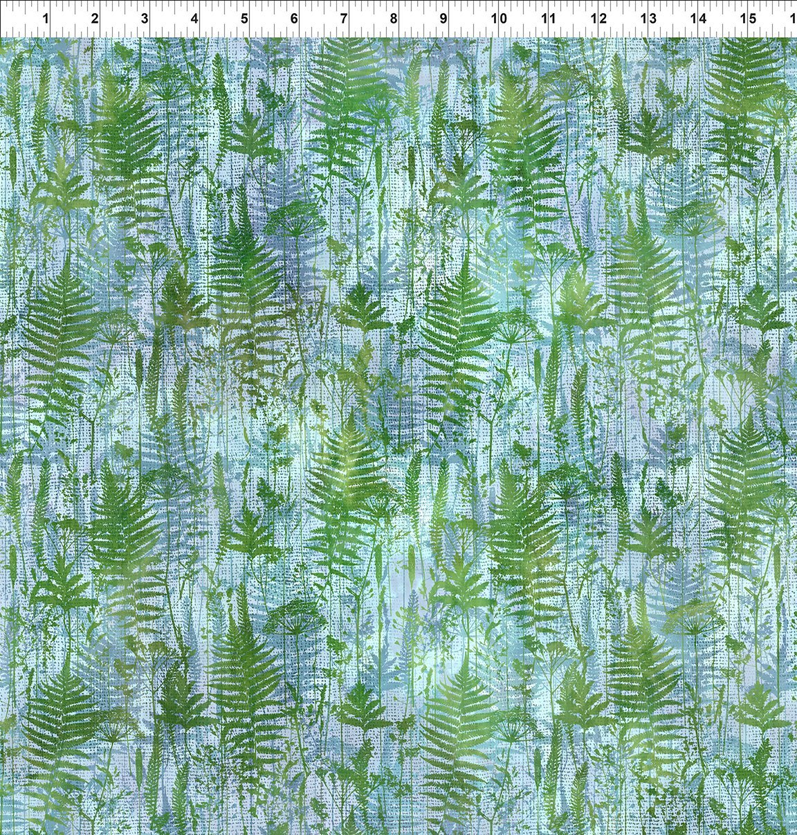 7HVN-2 Haven - Ferns - Blue by Jason Yenter for In The Beginning Fabric