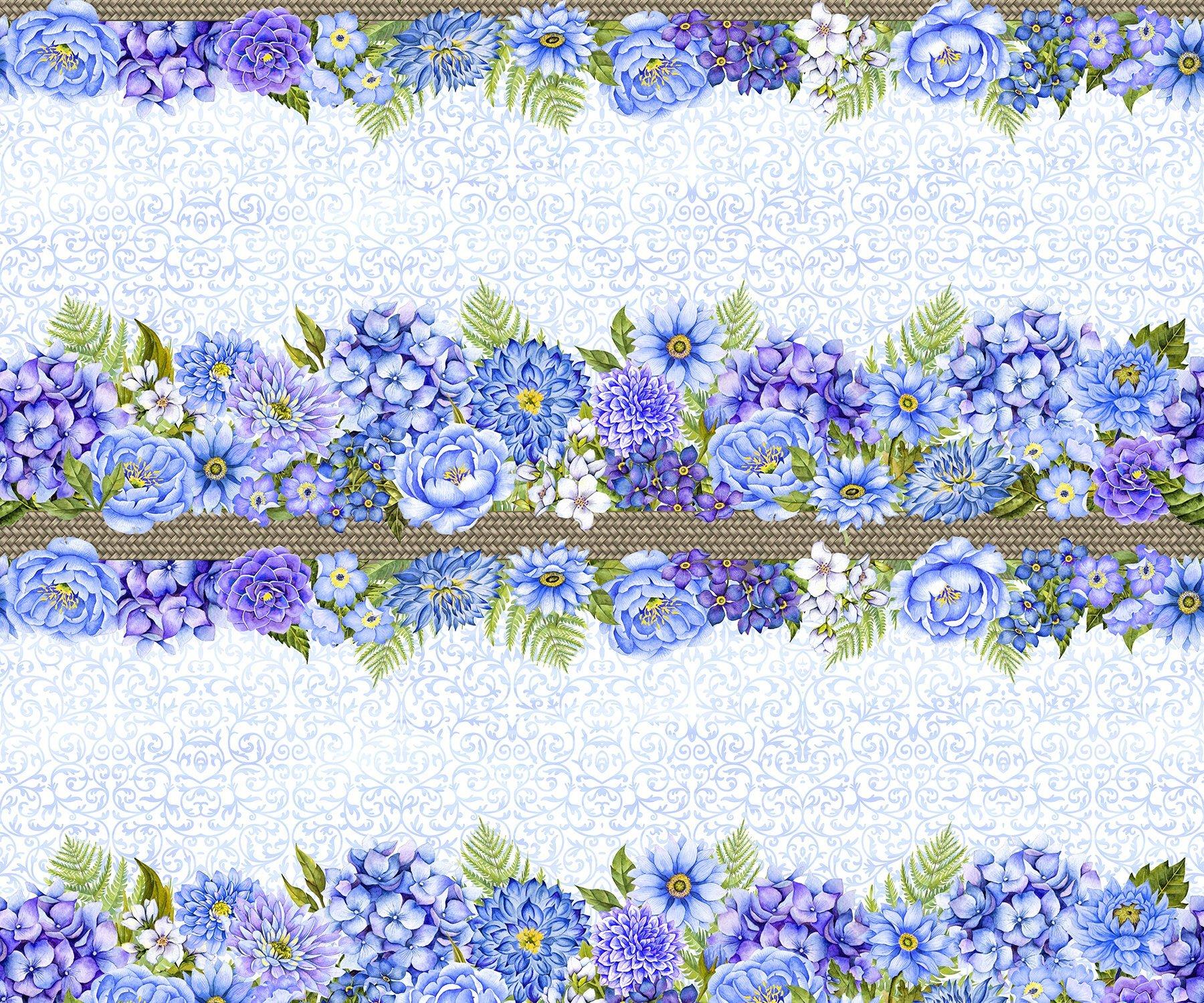3SEW1 - Karen's Garden - Border Stripe - Peri by Jason Yenter for In The Beginning Fabrics