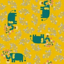 30070-006 I Heart Elephants - Yellow - Kawaii Nakama by Naoco Miyagawa for C+S