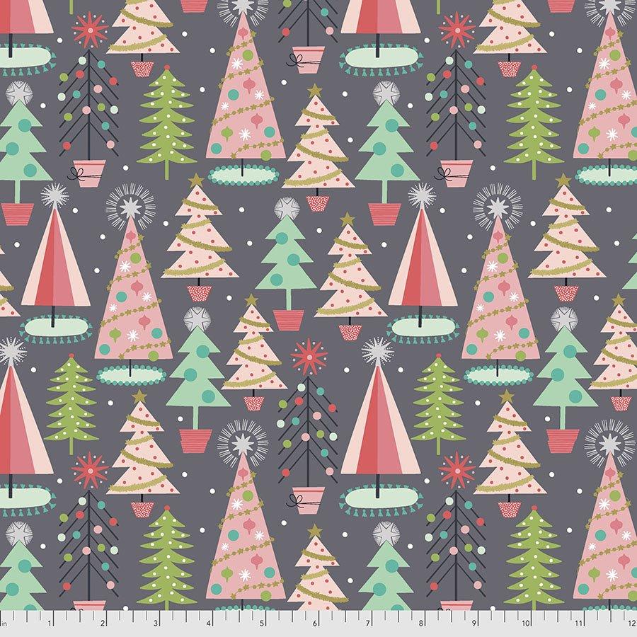 PWMA012.XGREY Christmas Spruces - Grey