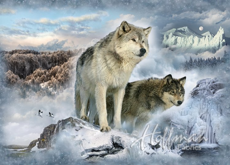 Q4439-183 Panel - Wolf Digital Print - Glacier