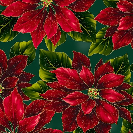27667-60 Hunter/Gold - Poised Poinsettia by Hoffman