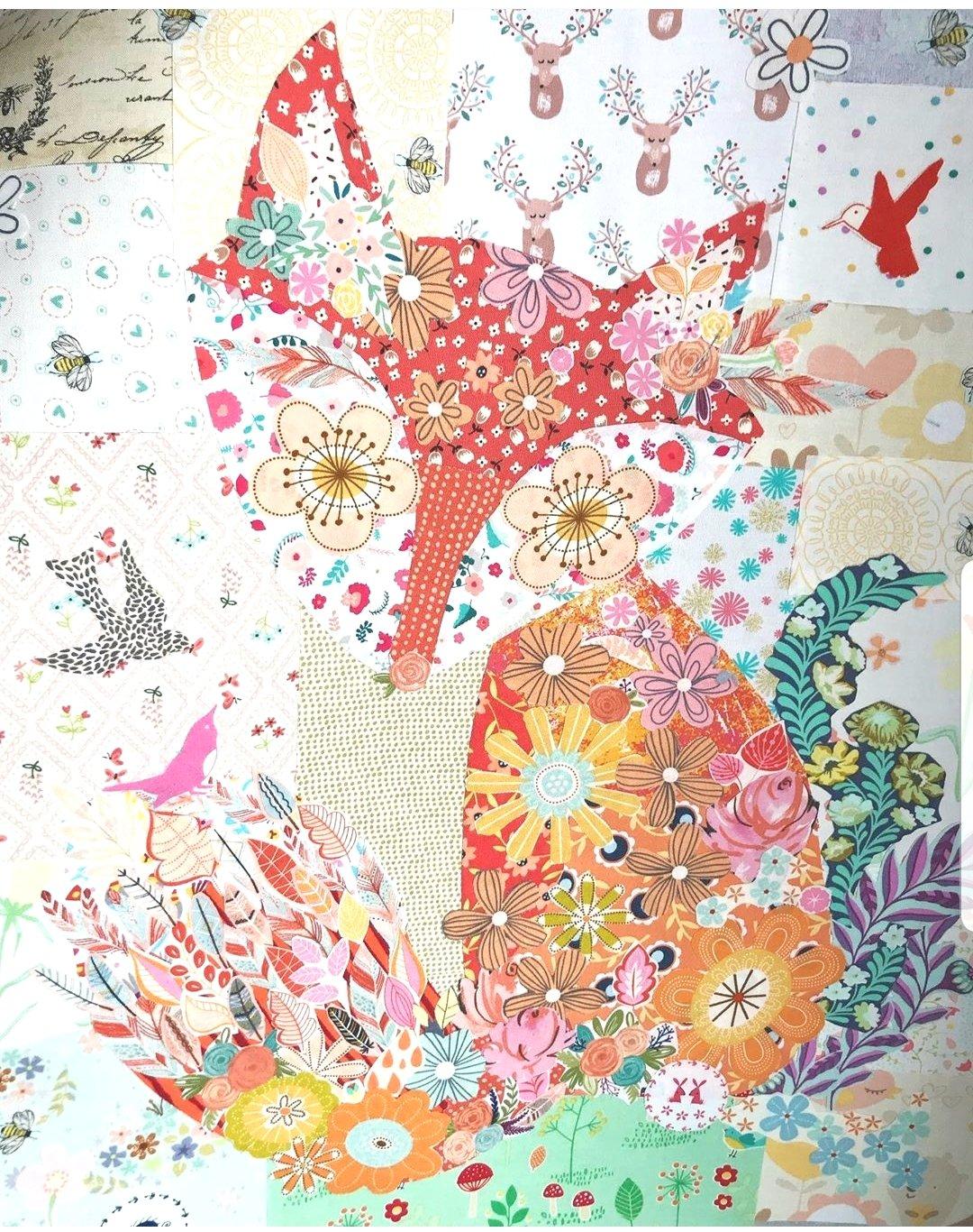 Fox Collage Fabric Kit -- Teeny Tiny Collage