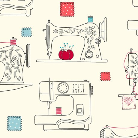 Sew What- Sewing Machines in cream