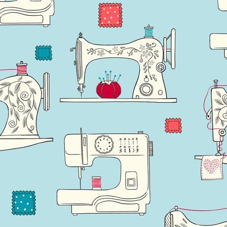Sew What- Sewing Machines in aqua